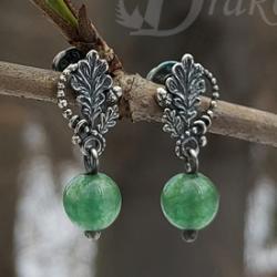 listki dębu,wiosenna zieleń,mini kolczyki,liść - Kolczyki - Biżuteria