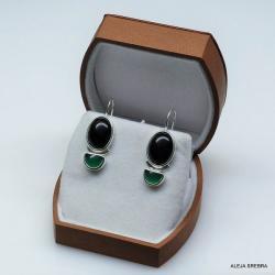 kolczyki z onykksami,biżuteria,srebro - Kolczyki - Biżuteria