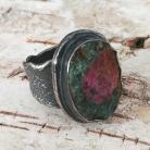 Pierścionki rubin,blask,bordowy,srebrny,surowy,retro,zoisyt