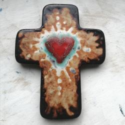 Beata Kmieć,ikona ceramiczna,krzyż,serce - Ceramika i szkło - Wyposażenie wnętrz