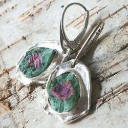 zoisyt,srebro,srebrne,różowy,zieleń,rubin - Kolczyki - Biżuteria