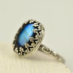 pierścionek,owalny,labradoryt,niebieski,retro - Pierścionki - Biżuteria