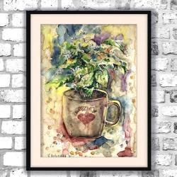 Filiżanka kawy,obraz,kawowy,akwarela,prezent - Obrazy - Wyposażenie wnętrz
