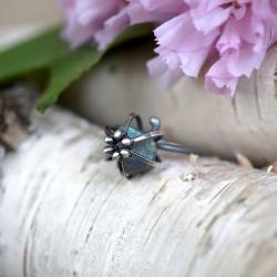 minimalistyczny srebrny pierścionek z labradorytem - Pierścionki - Biżuteria