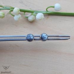 drobne kolczyki,wkrętki,sztyfty,srebro,dendryt - Kolczyki - Biżuteria