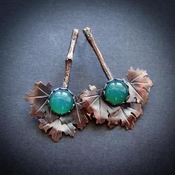 Kolczyki Wachlarze,Gałązki,Liście Klonu - Kolczyki - Biżuteria