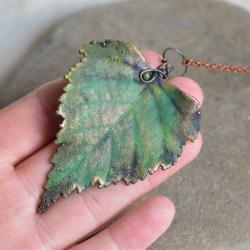 naszyjnik,liść brzozmiedziany wisior,prezent,boho - Naszyjniki - Biżuteria