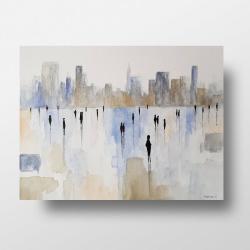 akwarela,pejzaż,miasto.ludzie - Obrazy - Wyposażenie wnętrz