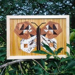 drewniany obraz,fornir,motyl,rustykalny - Obrazy - Wyposażenie wnętrz