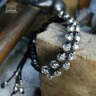 Dla mężczyzn męska bransoleta z rzemienia i srebrnych czaszek