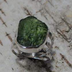 mołdawit pierścień,pierścionek,srebrny,butelkowy - Pierścionki - Biżuteria