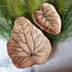 rustykalny,boho,liść,liście,patery,rabarbar - Ceramika i szkło - Wyposażenie wnętrz