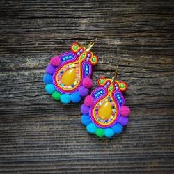 etniczne kolczyki,kolczyki z pomponami - Klipsy - Biżuteria