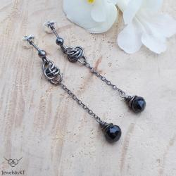 srebro,chainmaille,czarne,długie,JewelsbyKT - Kolczyki - Biżuteria