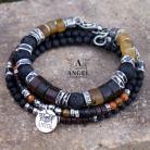 Dla mężczyzn męska biżuteria z bursztynem,surowa bransoleta