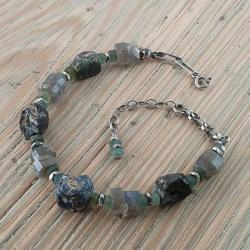 bransoletka ze szkłem afgańskim i labradorytem - Bransoletki - Biżuteria