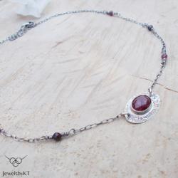 srebro,choker,rubiny,naszyjnik,JewelsbyKT - Naszyjniki - Biżuteria