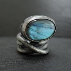 srebro,labradoryt,surowa - Pierścionki - Biżuteria