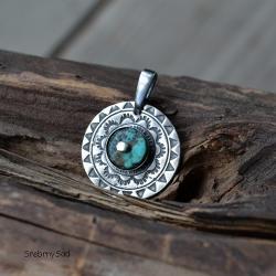 mandala,srebrna mandala,turkus - Wisiory - Biżuteria