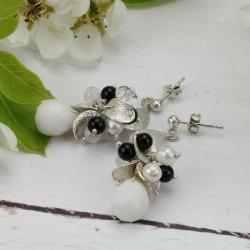 czarno-białe kolczyki,kolczyki z księżycem - Kolczyki - Biżuteria