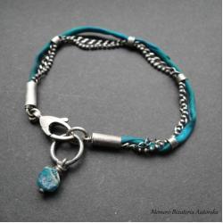 srebro,jedwab,szkło afgańskie,surowa - Bransoletki - Biżuteria