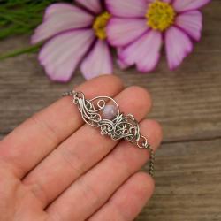 bransoletka,regulowana,kunzyt,wire wrapping - Bransoletki - Biżuteria