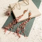 Kolczyki lniane kolczyki,drewniana biżuteria