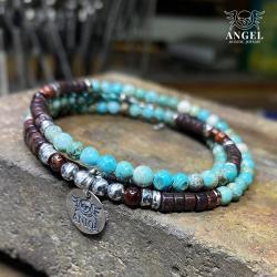 surowa biżuteria męska,bransoleta z koralików - Bransoletki - Biżuteria