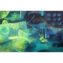 akryl,abstrakcja,malarstwo,zieleń,niebieski - Obrazy - Wyposażenie wnętrz