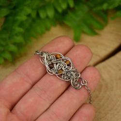 bransoletka,regulowana,tygrysie oko,wire wrapping - Bransoletki - Biżuteria