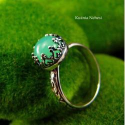 nehesi,pierścień,srebrny,chryzoprazem,zielony - Pierścionki - Biżuteria