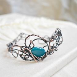 bransoletka,retro,agat,niebieska bransoletka,miedź - Bransoletki - Biżuteria