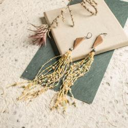 lniane kolczyki,kolczyki boho - Kolczyki - Biżuteria