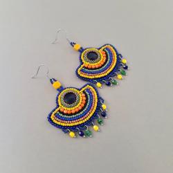 kolczyki wachlarze,haft koralikowy,kolorowe - Kolczyki - Biżuteria