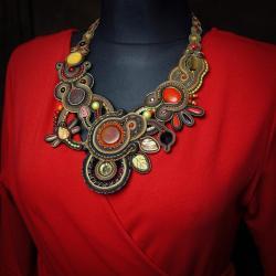 duży naszyjnik,naszyjnik soutache - Naszyjniki - Biżuteria