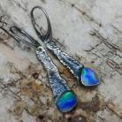 Kolczyki opale,srebro,srebrne,piękne,deliaktne,retro