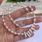 Naszyjniki perły słodkowodne,koral biały,srebro,naszyjnik