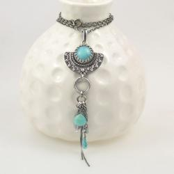 wisior,długi,niebieski,retro,boho,krople - Wisiory - Biżuteria