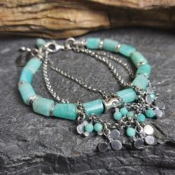 bransoletka srebrna,bransoletka z amazonitu - Bransoletki - Biżuteria