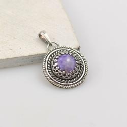 wisior,retro,okrągły,fioletowy,srebrny,czaroit - Wisiory - Biżuteria