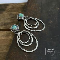 turkus,koła,surowe - Kolczyki - Biżuteria