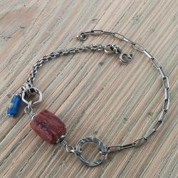 bransoletka ze szkłem afgańskim,antycznym - Bransoletki - Biżuteria