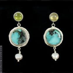 turkus,żółty szafir,perła,kolorowe,długie - Kolczyki - Biżuteria