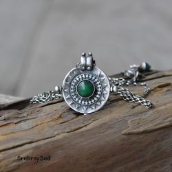 wisior mandala,srebrna mandala,zielony naszyjnik - Naszyjniki - Biżuteria