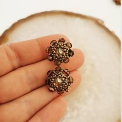 Kolczyki zote kwiatuszki Kryształki sztyfty srebro - Kolczyki - Biżuteria