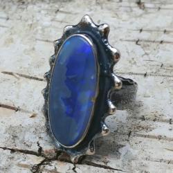 opal,srebrny,baśniowy,retro,teczowy,srebro,fiolet - Pierścionki - Biżuteria