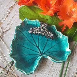 liść,liść ceramiczny,turkusowa podstawka - Ceramika i szkło - Wyposażenie wnętrz