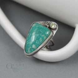 pierścień z amazonitem,regulowany amazonit - Pierścionki - Biżuteria