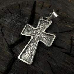 Krzyżyk,surowy,srebrny,srebro,krzyż - Dla mężczyzn - Biżuteria