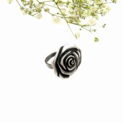 pierścionek,srebrny,biżuteria,prezent,róża, - Pierścionki - Biżuteria